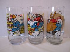 3 Smurfs Glasses '82 '83 Peyo Baker Clumsy Hefty Smurf Collector Glasses