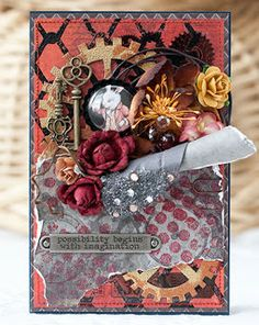 My 10 fav projects featuring chipboard 10 My fav projects featuring chipboard Steampunk Cards, Fabric Crafts, Paper Crafts, Art Projects, Projects To Try, Graphic 45, Cute Cards, Altered Art, Crafts To Make