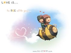HJ-Story :: Bee with you! Hj Story, Cute Love Stories, Love Story, Love Is Sweet, What Is Love, Ah O Amor, Chibird, Cute Love Cartoons, Cute Comics