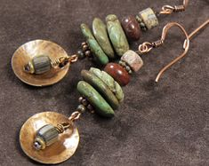 Rustica earrings: hammered bronze discs, stacked turquoise nuggets, brecciated jasper, leopard jasper, African trade beads