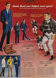 Publicité pour une poupée et des accessoires jouets de James Bond et Oddjob