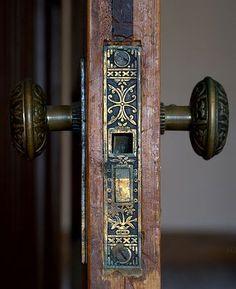 Stunning antique brass door lock mechanism.                                                                                                                                                                                 More