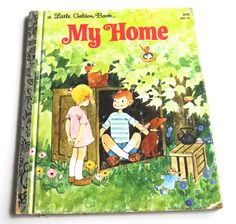 """Vintage Little Golden Book """"My Home"""" Dogs Cats Children Cows Farm Horses Trailer Houseboat. by SunshineBooks"""
