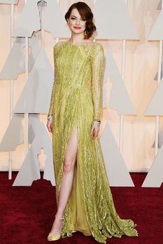 The 9 Best-Dressed Stars at the 2015 Oscars: Emma Stone in Elie Saab