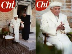 Spe Deus: Imagens inéditas de Bento XVI com uma boina branca...