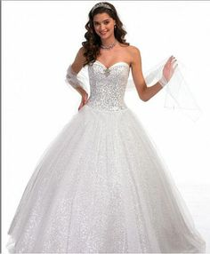 White Sparkle Dress | Sweetehart Sequin A Line White Quinceanera Dress
