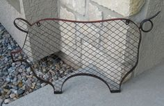 LARGE Red PIG Message Board*Primitive/French Country Decor*Metal & Wrought Iron  #NaivePrimitive