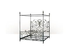 A wrought iron and verdigris brass four poster King Bed frame, artichoke finials, open head and footboard, scrolling leaf decoration. The original French Provincial. Wrought Iron Bed Frames, Wrought Iron Decor, Four Poster Bed Frame, Poster Beds, Brass Bed, King Bed Frame, Diy Centerpieces, Diy Bed, Beautiful Bedrooms