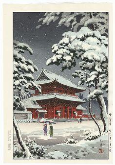 Zojo Temple in Snow, 1933 by Tsuchiya Koitsu (1870 - 1949); Japanese woodblock print................................ ukiyoe japan decoration antique fineart home decor collectible japanese woodblock print handmade home art beautiful decorative etching illustration traditional woodcut