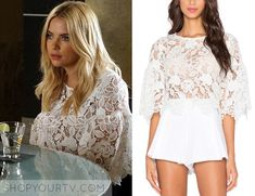 d375fab97ce Hanna Marin (Ashley Benson) will wear this white lace crop top in this  week's