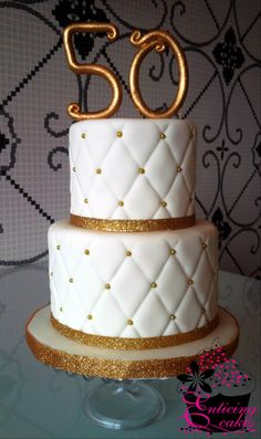 Quilted & Gold 50th Wedding Anniversary Cake