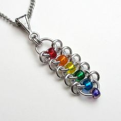Gay Pride necklace - chainmaille Celtic Visions star in rainbow ...