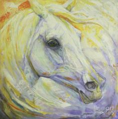 Abstract Horse Painting - Bright Spring by Silvana Gabudean