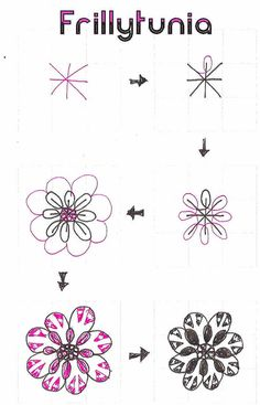 Frillytunia-tangle pattern by molossus, who says Life Imitates Doodles, via Flickr
