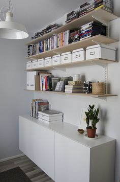 love the white containers, cabinet, & the shelves