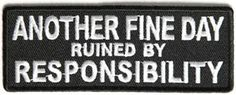 otro buen dia arruinada por responsabilidad cose en hierro en motocicleta biker parche - Categoria: Avisos Clasificados Gratis  Estado del Producto: Nuevo sin etiquetas Otro buen dAa arruinada por responsabilidad cose en hierro en Motocicleta Biker Parche Valor: GBP 3,20Ver Producto