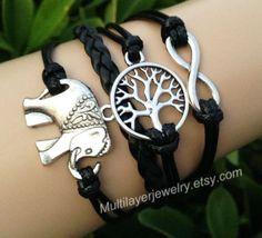 Elephant bracelets,tree bracelet, infinite bracelets, leather bracelets, fashion charm jewelry,  creativity bracelets,combination bangles