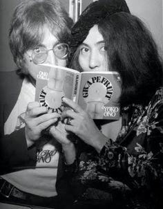 John Lennon and Yoko Ono  Grapefruit book signing, Selfridges, London, July 1971.