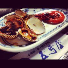赤貝と海老の煮付け。