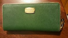 NEW with tags Michael Kors green moss wallet zip around ladies saffiano cards | Clothing, Shoes & Accessories, Women's Accessories, Wallets | eBay!