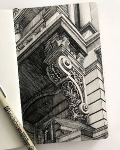 A balcony support in Cracow fineliner Architecture Drawing Sketchbooks, Architecture Concept Drawings, Architecture Art, Historical Architecture, Ancient Architecture, A Level Art Sketchbook, Arte Sketchbook, Art Sketches, Art Drawings