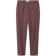 Toast Check Cigarette Trouser (4.135 RUB) ❤ liked on Polyvore featuring pants, calças, checked pants, cropped pants, slim fit trousers, red pants y red cigarette pants