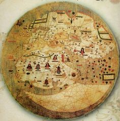 Incredible, Intricate Map from the Medieval Era Antique World Map, Antique Maps, Vintage World Maps, Antique Books, Jerusalem Map, Medieval Party, Old Maps, Historical Art, Weird Creatures