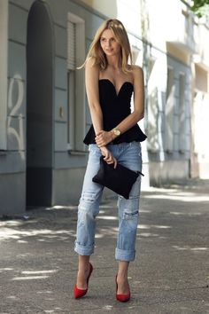 Peplum and boyfriend jeans