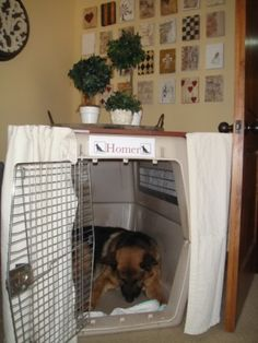 Cheap decorating idea for animal crates - I like the top w/o the curtain too. Nice little table.