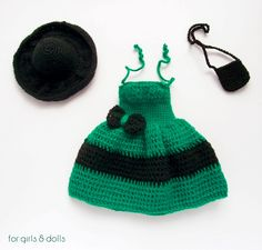 Green and black Barbie dress, Barbie clothes, Crocheted 12 inch doll dress, hat and handbag, Black Barbie hat, Dress with bow, Gift for girl by ForGirlsAndDolls on Etsy