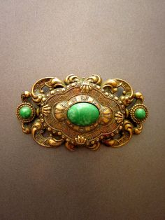 Art Nouveau Brooch Peking Glass by JeepersKeepers on Etsy, $58.00