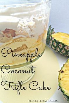 This No Bake Pineapple Coconut Trifle Cake Recipe makes the perfect summer desse. This No Bake Pineapple Coconut Trifle Cake Recipe makes the perfect summer dessert! Trifle Bowl Desserts, Trifle Cake, Trifle Recipe, Pie Dessert, Dessert Trifles, Mousse Dessert, Healthy Dessert Recipes, Easy Desserts, Baking Recipes