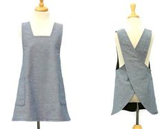 Girls Japanese Style Apron, Kids No Ties Apron, Children's Cross Back Apron, Girl's Smock Apron in Blue Cotton with Optional Personalization Japanese Apron, Childrens Aprons, Mesh Laundry Bags, Chambray Fabric, Long Ties, Dress Form, Fabric Samples, Blue Grey, Cotton Fabric