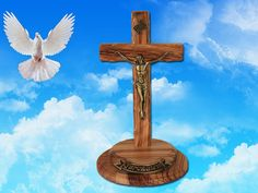 Thorn Cross on a round stand by Jesusolivewood on Etsy, $38.00