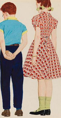 """2/2 - Illustration by Mac Conner, Nov. 1953, """"We won't be any trouble"""" in Collier's, gouache."""