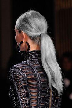 fashion Model colored hair dyed hair runway e dip dye ponytail fashion week catwalk silver hair gray hair grey hair edited hair