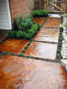 Stepping stones - stained concrete pieces--love this!
