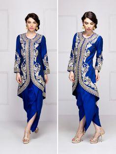 SONALI GUPTA Blue dabka embroidered jacket with dhoti pants