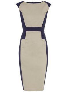 Navy and Stone Peplum Dress @ Dorothy Perkins