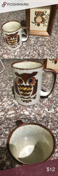 Vintage Owl coffee mug & crossstitch set 🦉🦉🦉 excellent condition vintage owl coffee mug & crossstitch framed owl. I purchased these separately at vintage stores & have had them displayed in my kitchen. They are perfect for an owl lover & seem to be from maybe the 70s based on colors. I hate to part but I'm trying to downsize! These are truly treasures. 🦉 Vintage Other