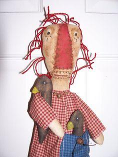 Doll Primitive Grungy Folk Art Raggedy Annie Doll by primsgonewild, ***SOLD***