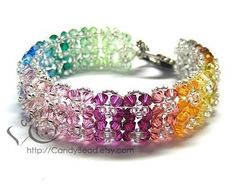 Gorgeous Rainbow Floral Crystal bracelet by candybead on Etsy, $29.50