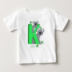 Personalized dinosaur green blue kids t shirt personalised t shirt k for koala negle