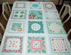 Lake and Garden: Vintage Hankie Quilt. Could arguably make a table cloth too.but perhaps not robust enough to deal with stains etc. Shabby Chic Quilts, Vintage Quilts, Vintage Fabrics, Vintage Linen, Vintage Sewing, Vintage Items, Quilting Projects, Sewing Projects, Longarm Quilting
