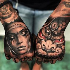 Hand Tattoo can be considered to be the most popular tattoos ever worn all over the world. Despite of the relatively small area, you will be surprised to see a variety of incredible tattoo designs on their hands. Tattoo Main, Arm Tattoo, Body Art Tattoos, Cool Tattoos, Fist Tattoo, Buddha Tattoos, Samoan Tattoo, Polynesian Tattoos, Leg Tattoos