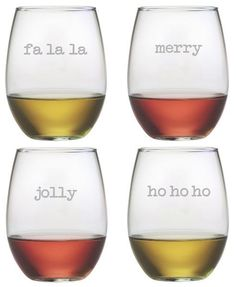 Fun stemless holiday tumblers to enjoy wine, eggnog or even cocktails in this holiday season. A great gift idea too.