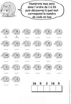 Numérote mes amis dans l'ordre de 1 à 26 puis... Cher, Grade 1, Safari, Words, Coloring Pages, Drawing Drawing