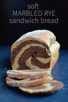 Your sandwich just became more interesting! This marbled rye bread is nice and soft and toasts well too. The perfect sandwich bread. Savory Bread Recipe, Rye Bread Recipes, Sandwich Bread Recipes, Baking Recipes, Baking Bad, Bread Baking, Marble Rye Bread Recipe, Eggless Baking, Cake Recipes