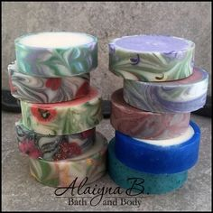 """Lots of people have been requesting """"how"""" I make the rimmed soaps - here is a blog post on the process/technique I use to create them. By Alaiyna B. Bath and Body."""