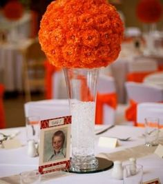 Beautiful Orange Wedding Table Centrepieces Also Love The Numbers